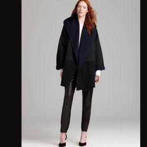 Vince Colorblock Sweater Coat Wool Oversize Gray